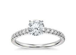Silver French Pave White Stone Engagement Ring