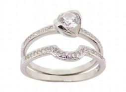 Silver Droplet Engagement and Wedding Ring Set