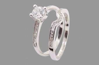 Silver Embedded Wedding and Engagement Set