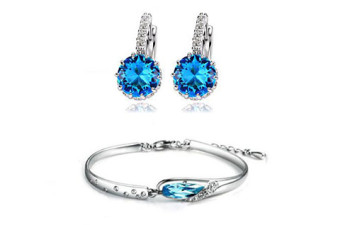 Blue-Topaz-Earring-and-Bracelet-Set-in-Pure-Silver-and-Austrian-Swarovski
