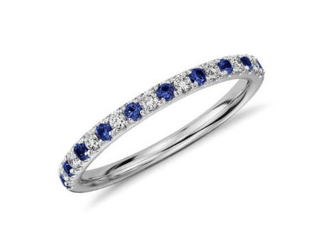 blue and white sapphire wedding ring - White Sapphire Wedding Rings