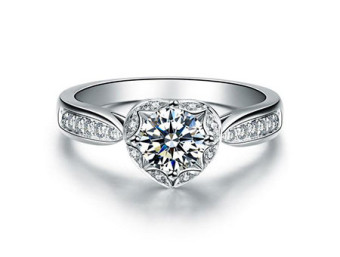 Heart Halo Channel Set Round Engagement Ring