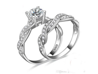 Silver Vine Twist Engagement and Wedding Ring Set