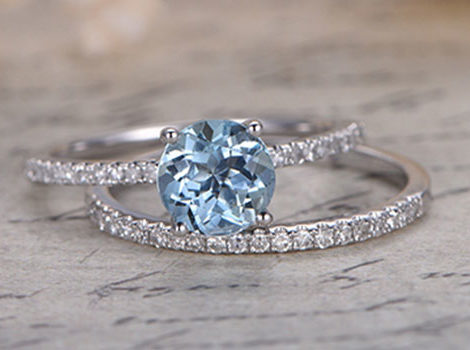 aquamarine engagement wedding ring set - Engagement And Wedding Ring Sets