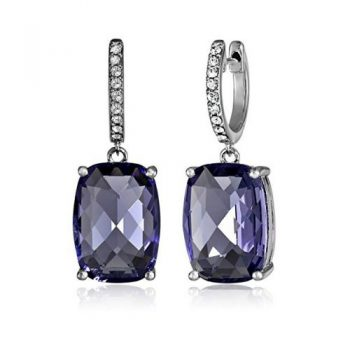 ec3f8ad6e637 Sterling Silver Swarovski Elements Tanzanite Color Crystal and Clear  Crystal Earrings