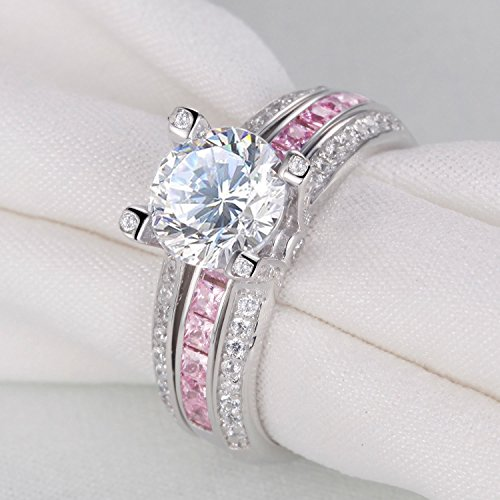 Round Pink Cz 925 Sterling Silver Wedding Band Engagement Ring Sets Size 7