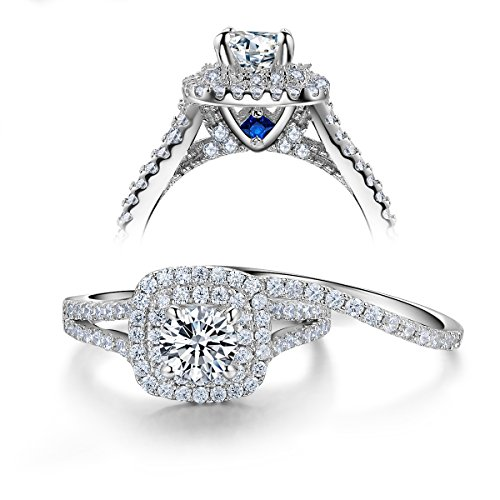 Newshe 2ct Round Created Blue Shire White Cz 925 Sterling Silver Wedding Engagement Ring Set Size 7